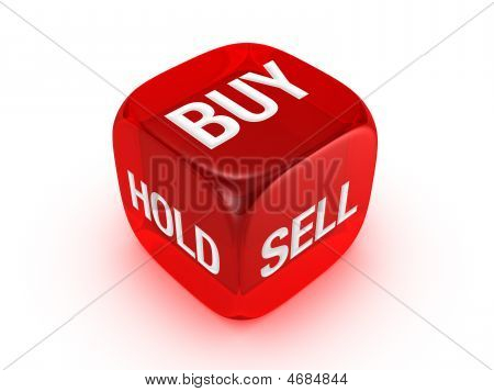 Translucent Red Dice With Buy, Sell, Hold Sign