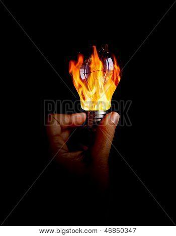 Light Bulb With Fire Inside