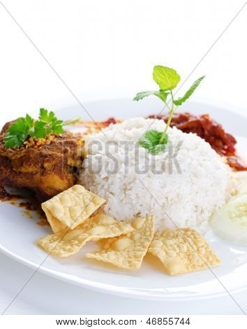 Nasi lemak traditional malaysian hot and spicy rice dish. Served with belacan, ikan bilis, acar, peanuts and cucumber. White background. Famous malaysian food.