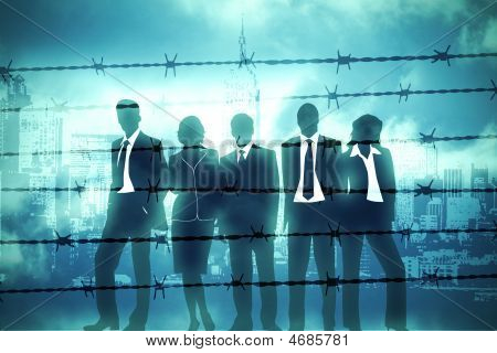 the banking managers behind the barbed wire poster