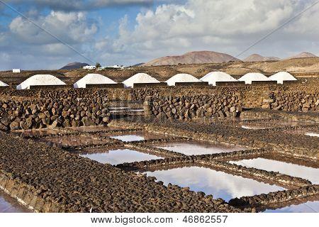 Salt refinery Saline from Janubio Lanzarote Spain poster