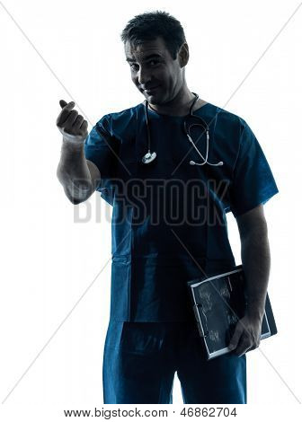one caucasian man doctor surgeon medical worker portrait gesturing money  silhouette isolated on white background