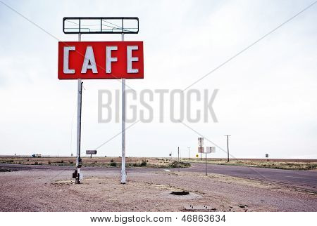 Cafe sign along historic Route 66 in Texas. Vintage Processing. poster