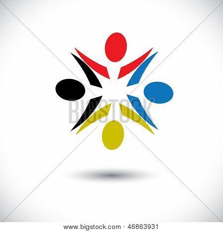Conceito de vetor gráfico - Resumo colorido crianças felizes Icons(symbols)