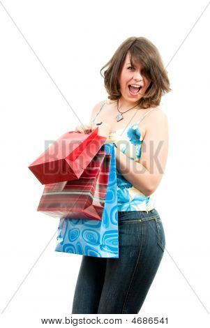 Cute Girl After Successful Shopping