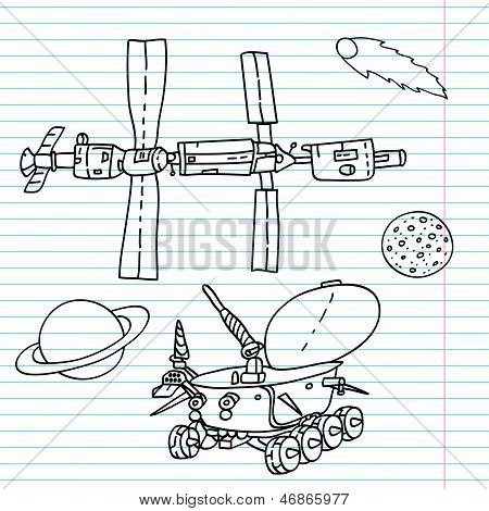 Space elements drawings on a notebook sheet - ISS, moonwalker, planet, comet, moon. Vector illustrat