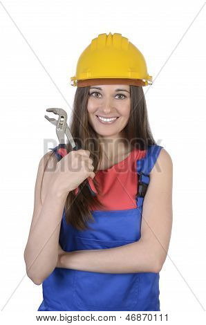 Pretty Worker Woman With Pliers And Hard Hat
