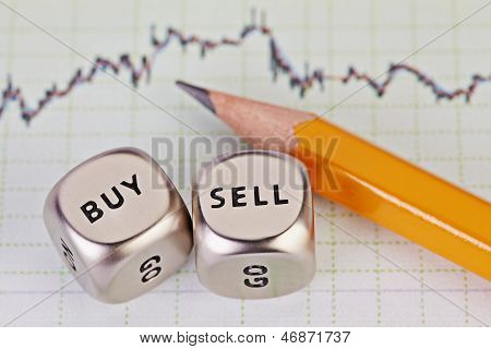 Dices Cubes With The Words Sell Buy, Pencil And Financial Chart As Background. Selective Focus.