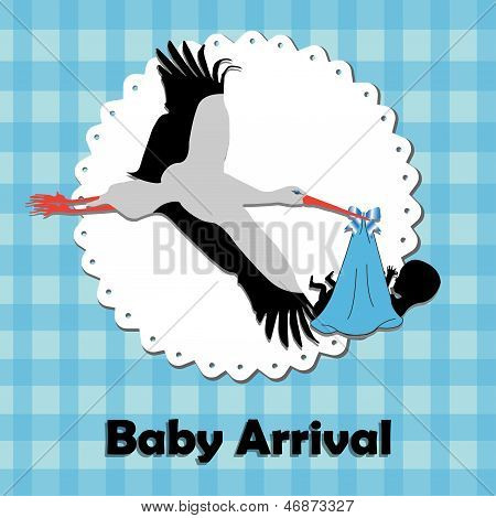 Abstract colorful background with a stork bringing a baby. Baby arrival theme poster