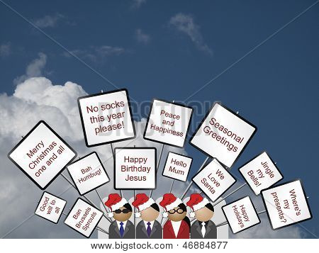 Placards with a Christmas