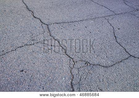 Multiple Cracks On Asphalt
