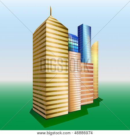 Вектор здания. Городской пейзаж.
