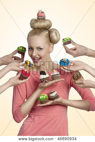 Girl With Cupcake On The Head