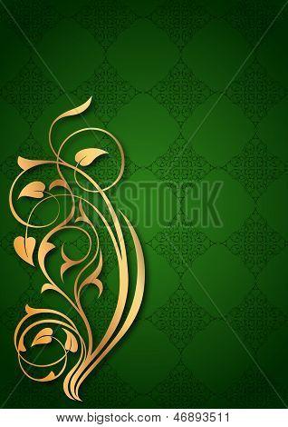 Golden floral patterns on green background