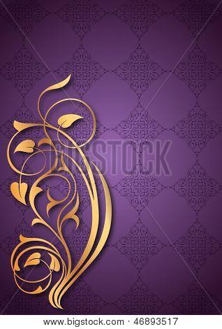 Golden floral patterns on purple background