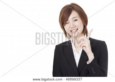 Young Business Woman That Wink
