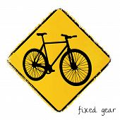 warning road sign with a fixed gear bike poster