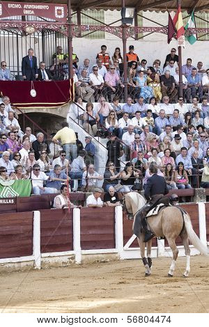 Spanish Bullfighters Fermin Bohorquez Asks The President Of The Bullring For Permission To Begin The
