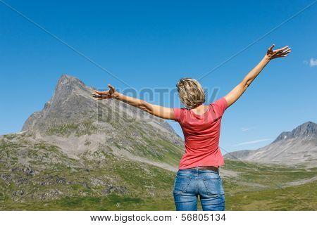 Happy woman enjoying freedom