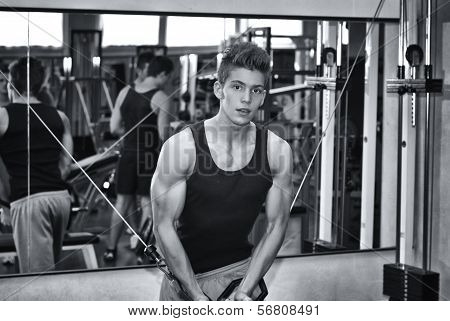 Teen bodybuilder working out with gym equipment exercising pecs muscles with cables poster