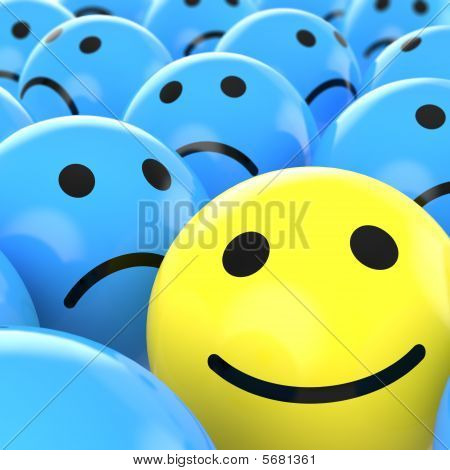 Close Up Happy Smiley Beteen Sad Ones