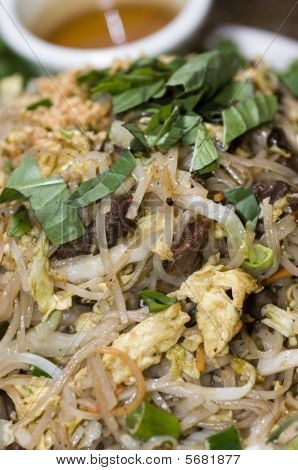 Vietnamese Food  Bun Xao  Rice Noodles With Shredded Vegetables Egg Crushed Peanuts Nuoc Cham Suace