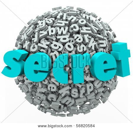Secret word on a ball or sphere of 3d letters to illustrate secretive, classified or special unknown information for confidential reading or discovering