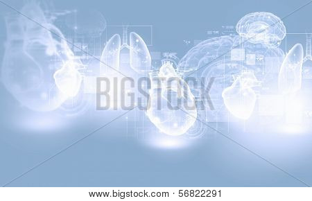 Digital image of human heart. Background or wallpaper