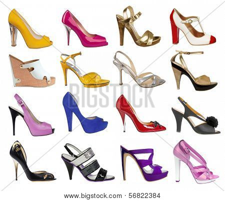 collection of women's shoes isolated on white