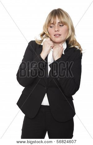 Uncomfortable Woman Tugging At Her Collar