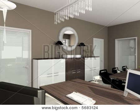 3D Render Modern Interior Of Office