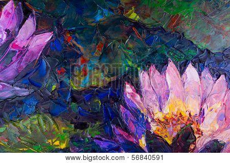 Oil painting of beautiful lotus flower