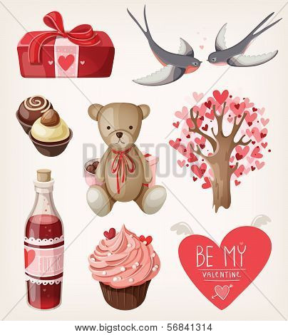 Set of romantic items for valentine day