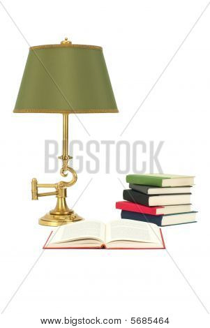 Books And Reading Lamp Isolated On White
