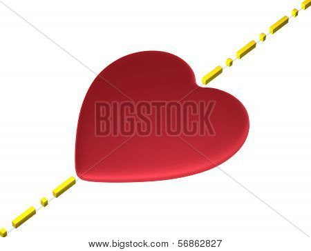 Red heart with boundary line isolated on white