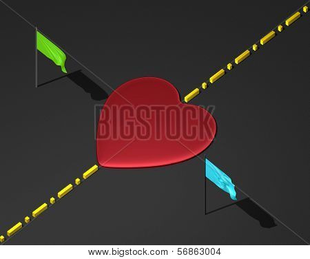 Red heart on black surface with boundary line and flags