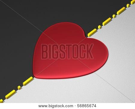 Red heart on divisional line between black and white areas