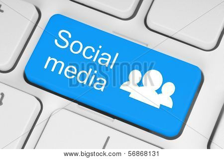 Blue social media keyboard button