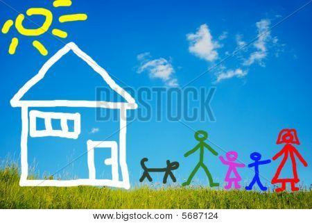 Familia feliz y su mascota delante de casa, pintado