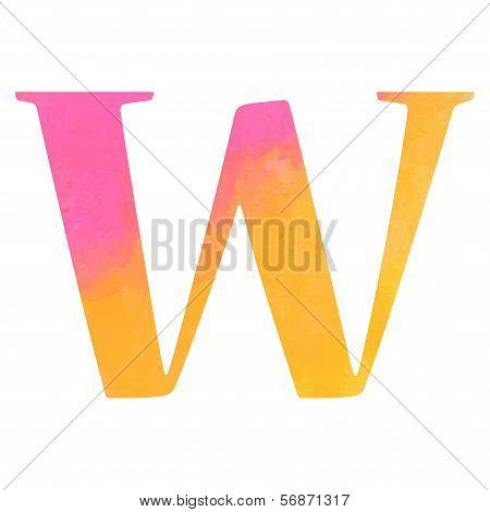 Watercolor alphabet letter, Vector illustration.