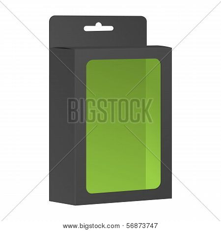 Blank Black Product Package Box With Window. Vector