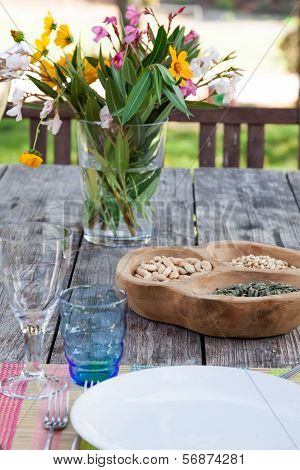 Table setting in summer holiday house