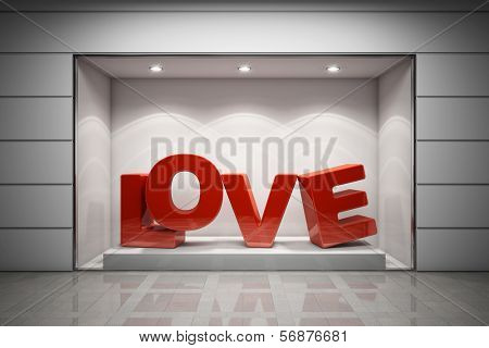 Storefront of shop with red text love