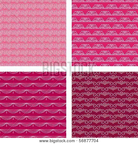 Seamless Doodle Pattern Set Red