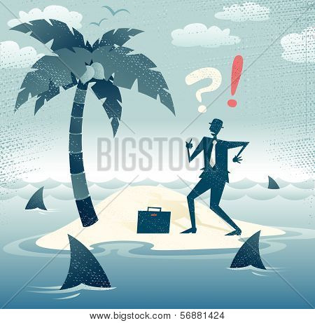 Abstract Businessman is trapped on an Island.