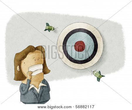 businesswoman misses the target