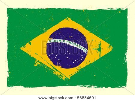 detailed illustration of a grungy heart with brazilian flag, eps 10 vector