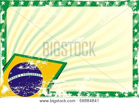 detailed grungy background illustration with stars border and brazilian flag elements, eps 10 vector