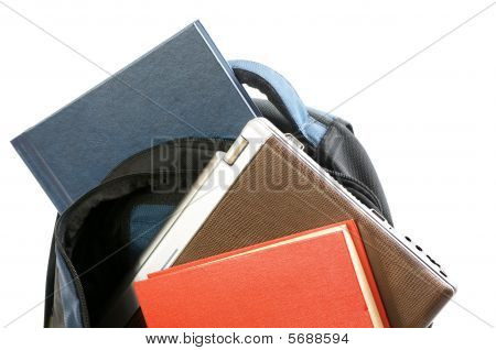 backpacking with laptop and books