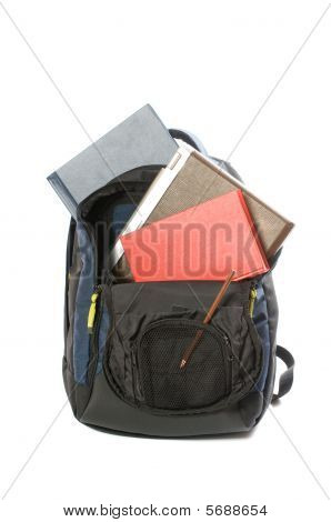 backpacking with laptop, books and pencil